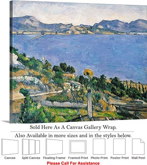 "Classic Art by Paul Cezanne Bay of Marseilles View Canvas Wrap 24"" x 19"""