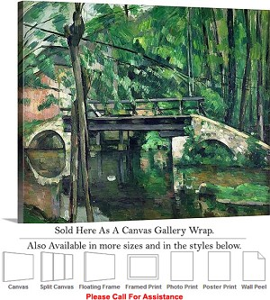 "Classic Art by Paul Cezanne The Bridge at Maincy Canvas Wrap 24"" x 19"""