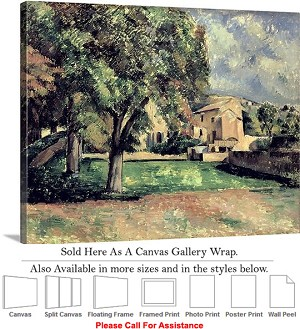 "Classic Artwork by Paul Cezanne of Trees in a Park Canvas Wrap 24"" x 19"""