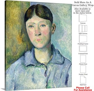 "Classic Artwork by Paul Cezanne Portrait of Madame Canvas Wrap 19"" x 24"""