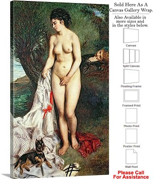 "Classic Artwork by Pierre Auguste Renoir of Bather Canvas Wrap 17"" x 30"""