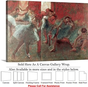 "Classic Art by Edgar Degas of Dancers at Rehearsal Canvas Wrap 30"" x 20"""