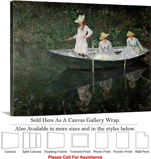 "Classic Art by Claude Monet of The Boat at Giverny Canvas Wrap 30"" x 23"""