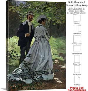 "Classic Artwork by Claude Monet of The Promenaders Canvas Wrap 22"" x 30"""
