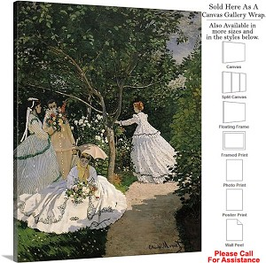 "Classic Art by Claude Monet of Women in the Garden Canvas Wrap 19"" x 24"""