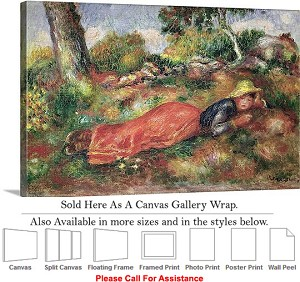 "Classic Art by Pierre Auguste Renoir Young Girl  Canvas Wrap 30"" x 20"""