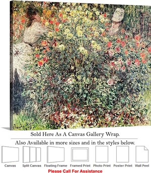 "Classic Art by Claude Monet Women in the Flowers Canvas Wrap 24"" x 19"""