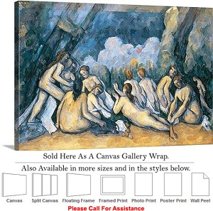 "Classic Artwork by Paul Cezanne The Large Bathers Canvas Wrap 30"" x 20"""
