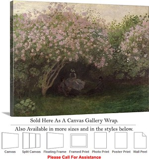"Classic Art by Claude Monet Lilacs, Grey Weather Canvas Wrap 30"" x 23"""