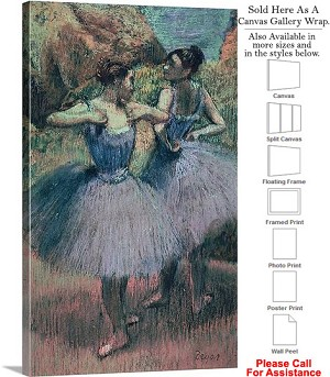 "Classic Artwork by Edgar Degas Dancers in Violet Canvas Wrap 18"" x 30"""