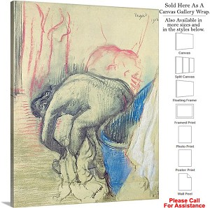 "Classic Artwork by Edgar Degas of After the Bath-5 Canvas Wrap 19"" x 24"""