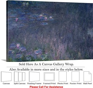 "Classic Art Piece by Claude Monet Waterlilies -3 Canvas Wrap 30"" x 20"""