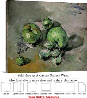 "Classic Artwork Piece by Paul Cezanne Green Apples Canvas Wrap 24"" x 19"""