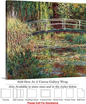 "Classic Artwork by Claude Monet Waterlily Pond-2 Canvas Wrap 20"" x 18"""