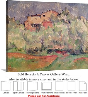 "Classic Art by Paul Cezanne The House at Bellevue Canvas Wrap 24"" x 19"""
