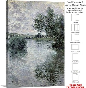 "Classic Art by Claude Monet The Seine at Vetheuil Canvas Wrap 22"" x 30"""