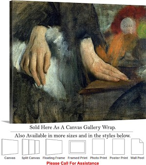 "Classic Artwork by Edgar Degas The Study of Hands Canvas Wrap 24"" x 19"""