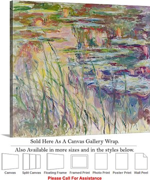 "Classic Art by Claude Monet Reflections on Water Canvas Wrap 20"" x 18"""