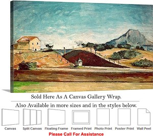 "Classic Art by Paul Cezanne The Railway Cutting Canvas Wrap 30"" x 18"""