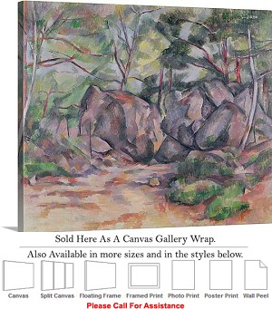 "Classic Art by Paul Cezanne Woodland with Boulders Canvas Wrap 24"" x 19"""
