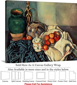 "Classic Art by Paul Cezanne Still Life with Apples Canvas Wrap 24"" x 19"""