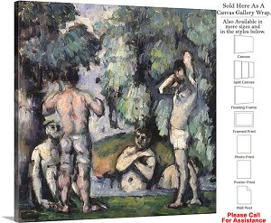 "Classic Artwork by Paul Cezanne The Five Bathers Canvas Wrap 20"" x 20"""