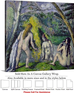 "Classic Artwork by Paul Cezanne The Three Bathers Canvas Wrap 20"" x 20"""
