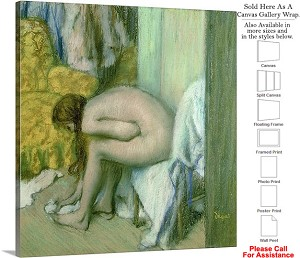 "Classic Artwork by Edgar Degas of After the Bath-6 Canvas Wrap 18"" x 20"""