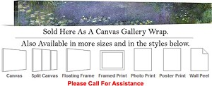 "Classic Art Piece by Claude Monet Waterlilies -4 Canvas Wrap 72"" x 14"""