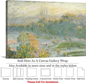 "Classic Artwork by Claude Monet of The Tuileries Canvas Wrap 30"" x 20"""
