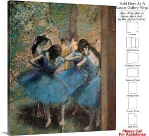 "Classic Artwork by Edgar Degas of Dancers in Blue Canvas Wrap 18"" x 20"""