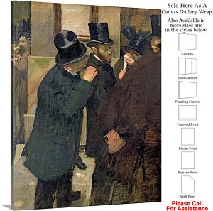 "Classic Art by Edgar Degas At the Stock Exchange Canvas Wrap 19"" x 24"""