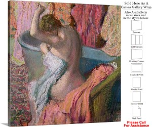 "Classic Artwork Piece by Edgar Degas Seated Bather Canvas Wrap 20"" x 20"""