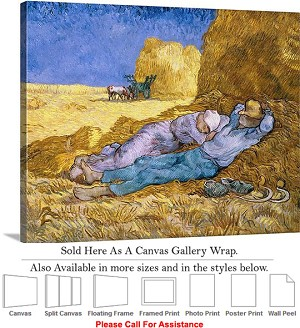 "Classic Artwork by Vincent Van Gogh of The Siesta Canvas Wrap 24"" x 19"""