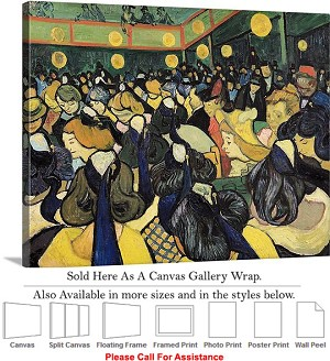 "Classic Art by Vincent Van Gogh Dance Hall at Arle Canvas Wrap 24"" x 19"""