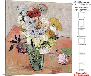 "Classic Art by Vincent Van Gogh Roses and Anemones Canvas Wrap 20"" x 20"""