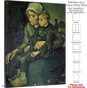 "Classic Art by Vincent Van Gogh Mother and Child Canvas Wrap 23"" x 30"""