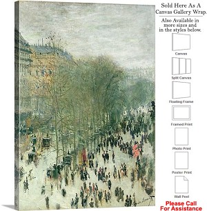 "Classic Art by Claude Monet Boulevard de Capucines Canvas Wrap 22"" x 30"""
