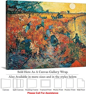 "Classic Art by Vincent Van Gogh Arles Red Vineyard Canvas Wrap 24"" x 19"""