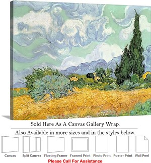 "Classic Artwork by Vincent Van Gogh of Wheatfield Canvas Wrap 24"" x 19"""