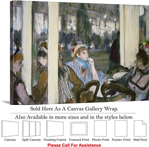 "Classic Art by Edgar Degas Women on a Cafe Terrace Canvas Wrap 30"" x 20"""