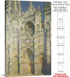"Classic Artwork by Claude Monet of Rouen Cathedral Canvas Wrap 20"" x 30"""