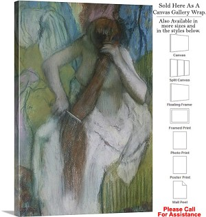 "Classic Art by Edgar Degas Woman Combing her Hair Canvas Wrap 20"" x 30"""