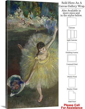 "Classic Artwork by Edgar Degas End of an Arabesque Canvas Wrap 19"" x 36"""