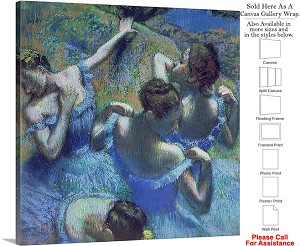 "Classic Artwork Piece by Edgar Degas Blue Dancers Canvas Wrap 20"" x 20"""