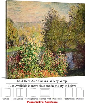 "Classic Art by Claude Monet of Garden at Montgeron Canvas Wrap 20"" x 18"""