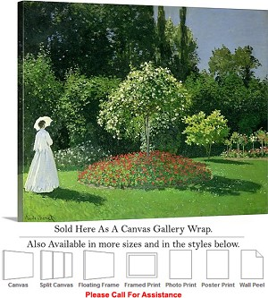 "Classic Art by Claude Monet Jeanne in the Garden Canvas Wrap 24"" x 19"""