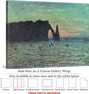 "Classic Artwork by Claude Monet The Hollow Needle Canvas Wrap 30"" x 23"""