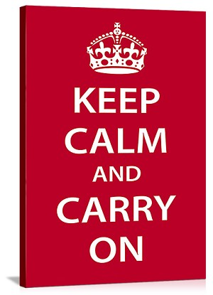 Keep Calm And Carry On red Vintage Printed On Canvas