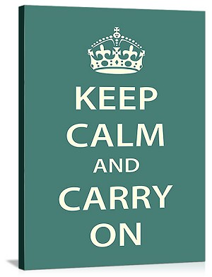 Keep Calm and Carry On Vintage Printed On Canvas